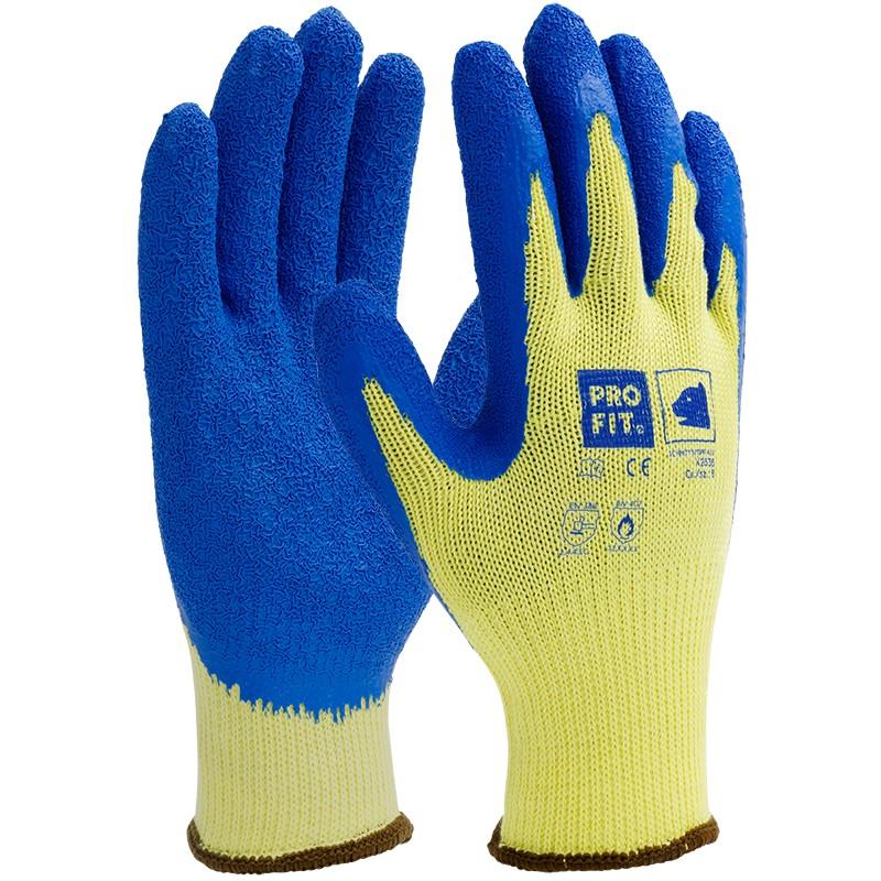 Glaserhandschuhe blau-gelb