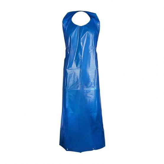 PE-Einwegschürze, 75  x 120 cm, blau 100 Stück geblockt, 30 my