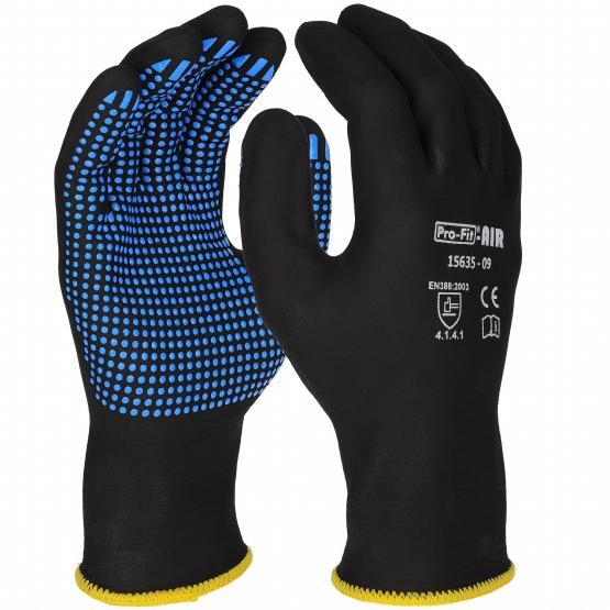 AIR NFT® Nitrilschaum-Feinstrickhandschuh, schwarz / blau, vollbeschichtet, mit Punktbenoppung