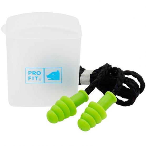 Prosoft 34 Mehrweg-Gehörschutzstöpsel mit Kordel, 4 Lamellen, grün, SNR 34 dB(A)