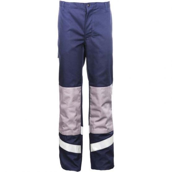 Multinorm Bundhose, Flamm- und Chemikalienschutz, antistatisch, blau/grau, Reflexstreifen