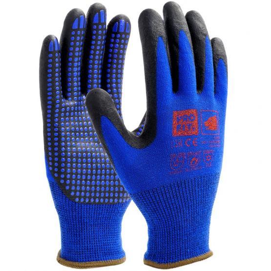 NI-Thermo Nitril-Feinstrickhandschuh, blau / schwarz, mit Punktbenoppung