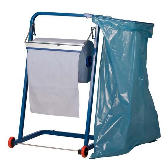 Bodenständer für Putzpapier inklusive Müllsackhalterung und Rollen, bis 40 cm breit