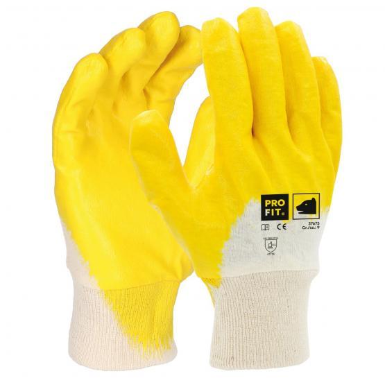 Basic Nitril-Handschuh, gelb, 3/4 beschichtet, Strickbund