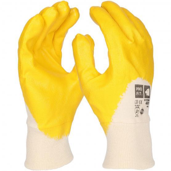 Standard Nitril-Handschuh, gelb, 3/4 beschichtet, Strickbund