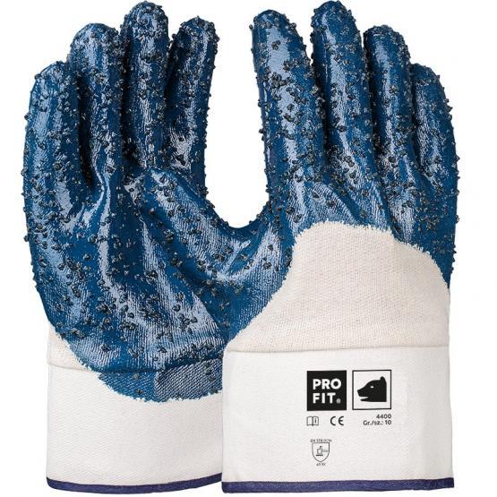 Basic Nitril Handschuh, granuliert 3/4 beschichtet, Stulpe