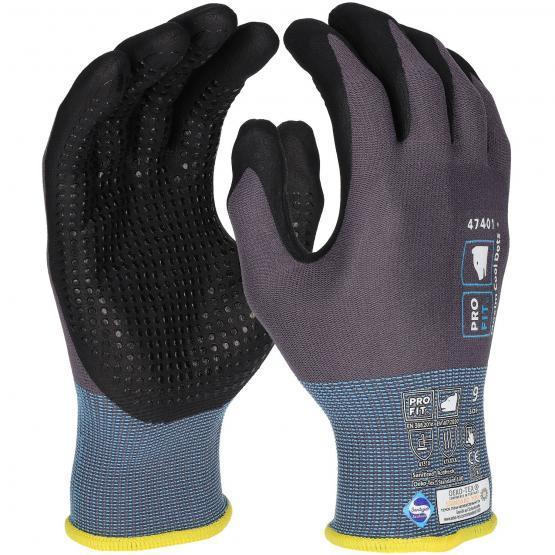 Ninja Maxim Dot, NFT® Nitrilschaum-Feinstrickhandschuh,  Punktbenoppung, grau-schwarz