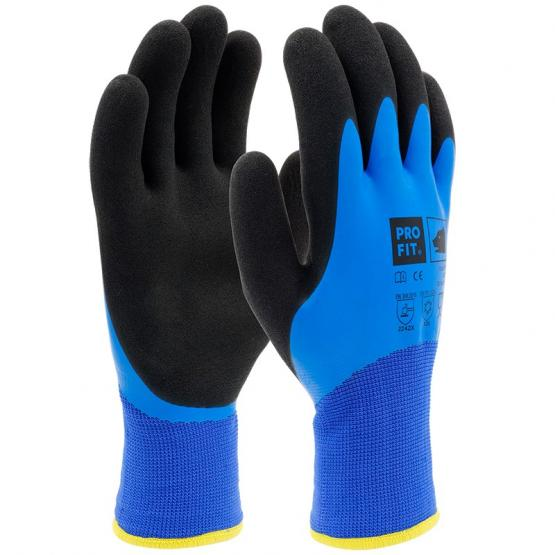 Cool FIT Latexschaumhandschuh 2-fach Tauchung, blau/schwarz