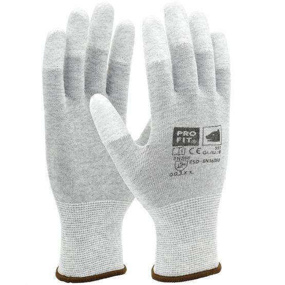 ESD Nylon-Feinstrickhandschuh, Fingerkuppen mit PU-Beschichtung 10