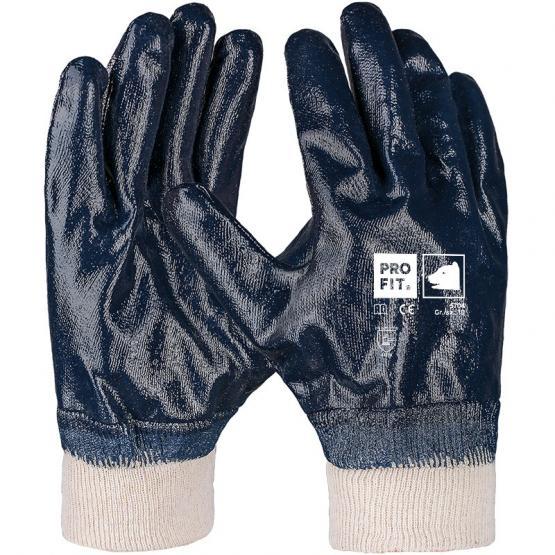 Basic Nitril-Handschuh, blau, vollbeschichtet, Strickbund
