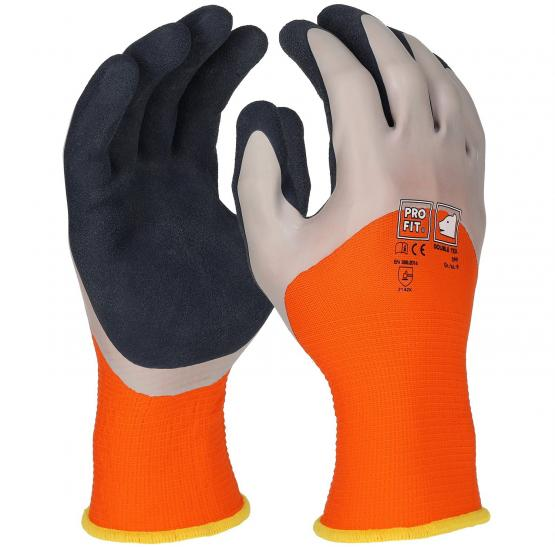 Double Tex Latexschaum-Feinstrickhandschuh 2fach Tauchung, orange / blau
