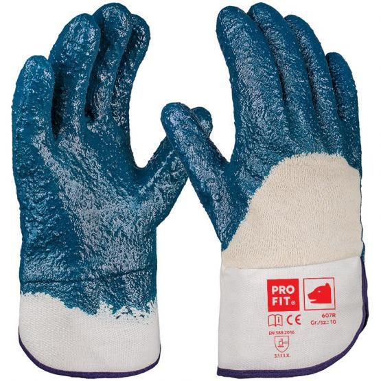 Hercules Nitril-Handschuh, blau, geraut, 3/4 beschichtet, Stulpe