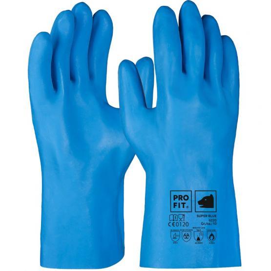 Super Blue Latex-Chemikalienschutzhandschuh, blau, ungeraute Oberfläche