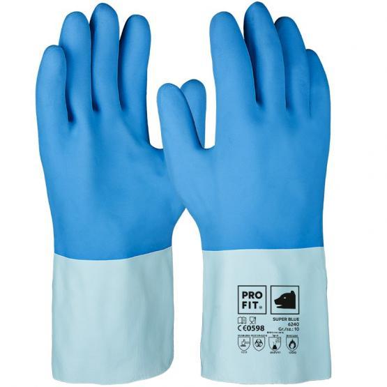 Super Blue Latex-Chemikalienschutzhandschuh, blau, geraute Oberfläche