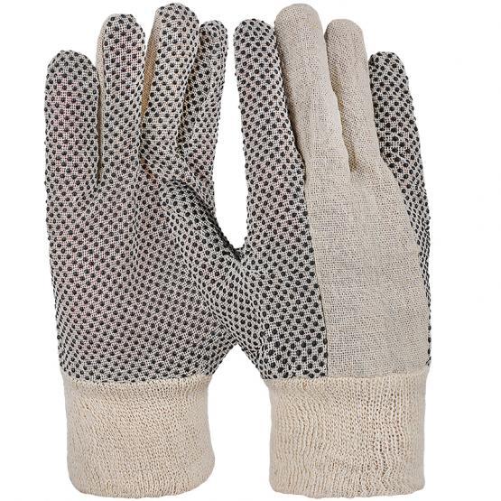 Baumwoll-Köper-Handschuh mit Noppen Strickbund, Gr. 10