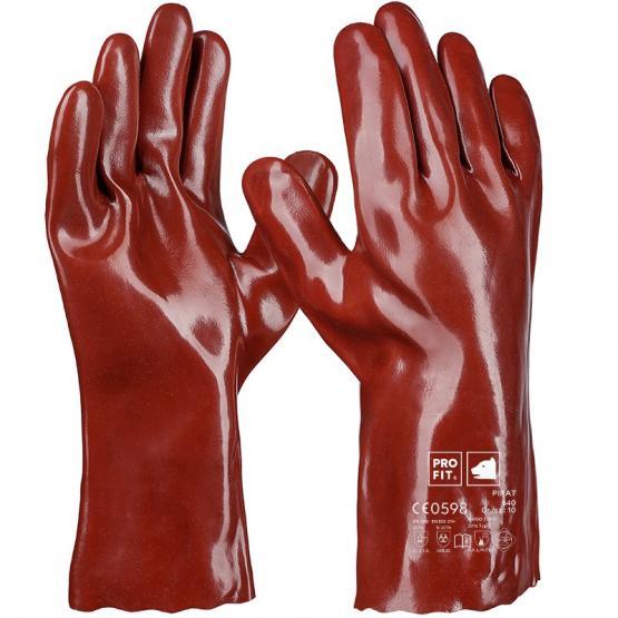 Pirat Vinyl-Chemikalienschutzhandschuh, 35 cm, rotbraun, Premium-Qualität