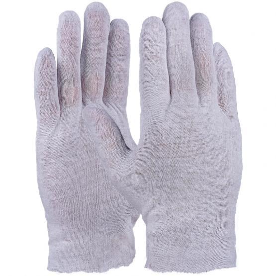 Baumwoll-Trikot-Handschuh, reinweiß, Standard Qualität, gesäumt