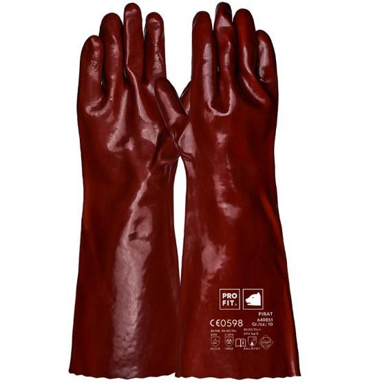 Pirat Vinyl-Chemikalienschutzhandschuh, 45 cm, rotbraun, Premium-Qualität