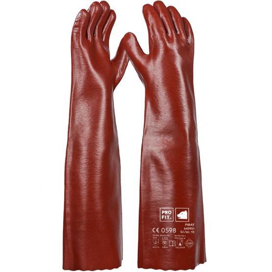 Pirat Vinyl-Chemikalienschutzhandschuh, 58 cm, rotbraun, Premium-Qualität