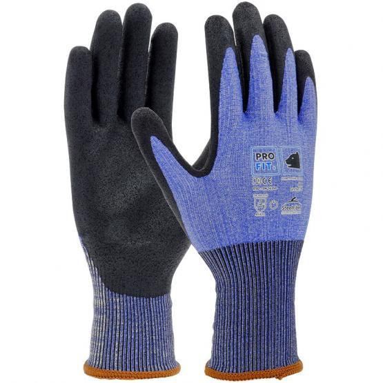 Polymer-P Schnittschutzhandschuh Level D, Deluxe, Steel-Fiber, blau/schwarz, ESD