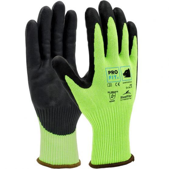 HIVIS Nitrilschaum-Schnittschutzhandschuh, Level F, neongrün / schwarz, Steel-Fiber