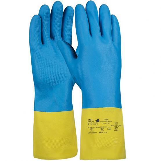 Heveaprene Chemikalienschutzhandschuh, gelb / blau, 30 cm, Latex/Neopren