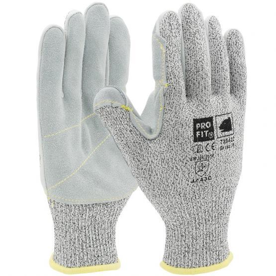 Strick-Leder Schnittschutzhandschuh, Level C, mit HPPE/Glas -Faser, Lederbesatz