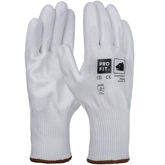 PU-Schnittschutzhandschuh, Level B, mit HPPE-Faser, weiß