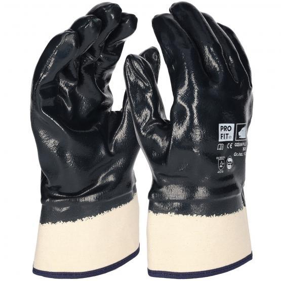 Premium Nitril-Handschuh, blau, vollbeschichtet, Stulpe