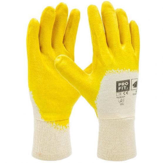 Premium Nitril-Handschuh, gelb, 3/4 beschichtet, Strickbund
