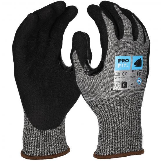 GREY Nitrilschaum-Schnittschutzhandschuh, Level F, grau/schwarz, Steel-Fiber, verstärkte Daumenbeuge