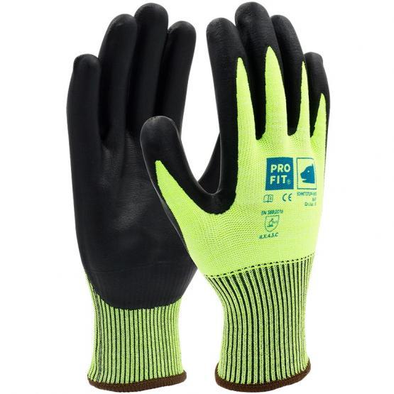 Nitril-Schnittschutzhandschuh, Level C, mit HPPE/Glas-Faser, neongrün / schwarz