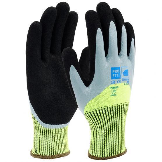 Nitril-Schnittschutzhandschuh, Level C, mit HPPE/Glas-Faser, 2-fach Tauchung, neongrün / schwarz 10