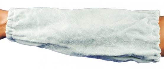 Armschoner Spaltleder, 35 cm, Gummizug, natur