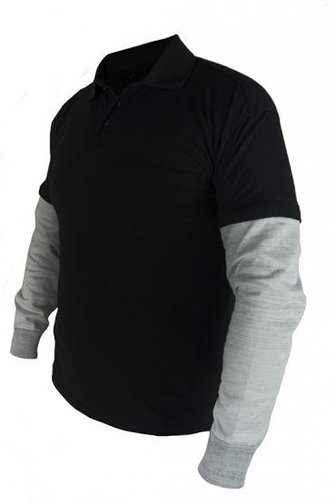 Schnittschutz Poloshirt, Ärmel-abtrennbar, navy/grau, Ärmel-Schnittschutzlevel 5, 45 cm