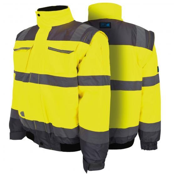 Warnschutz Pilotenjacke neongelb / grau, abnehmbare Ärmel