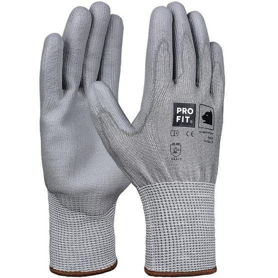 PU-Schnittschutzhandschuh, Level D, mit HPPE-Glas-Faser, grau 7