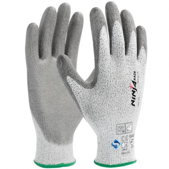 Ninja Silver + PU-Schnittschutzhandschuh, Level C mit Dyneema®-Faser, grau