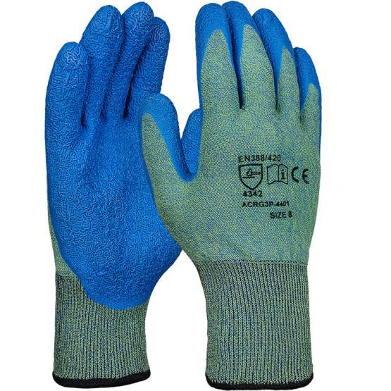 Latex-Schnittschutzhandschuh, Level 3, grün/blau