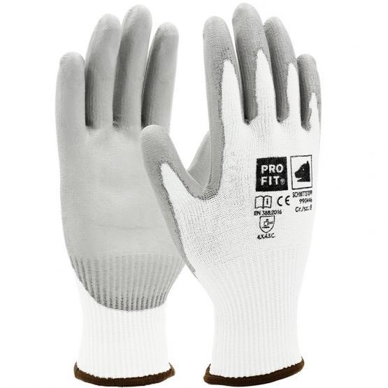 PU-Schnittschutzhandschuh, Level C, mit HPPE-Glas-Faser, weiß/grau