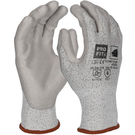 PU-Schnittschutzhandschuh Level 3 mit HPPE-Faser, grau