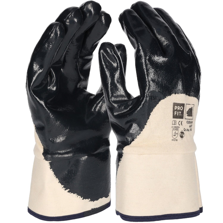 premium nitril handschuh blau 3 4 beschichtet stulpe. Black Bedroom Furniture Sets. Home Design Ideas
