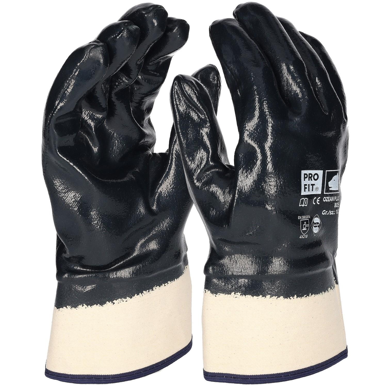 premium nitril handschuh blau vollbeschichtet stulpe. Black Bedroom Furniture Sets. Home Design Ideas